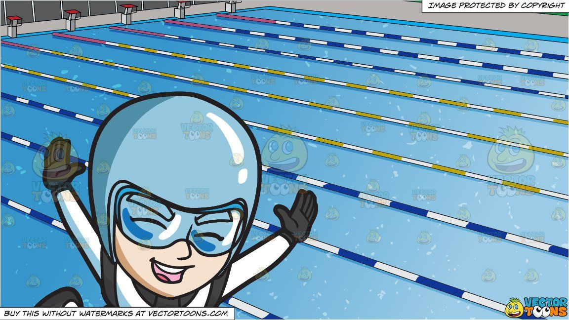 Clipart Cartoon A Thrilled Male Skydiver And Outdoor Competition Swimming Pool Background
