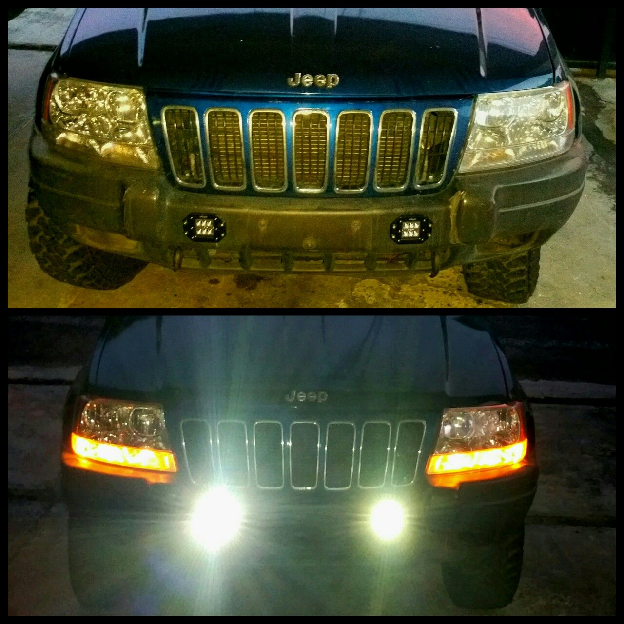 Led Light Mounted On Oem Front Bumper Flood Led Light Jeep Wj Jeep Jeep Grand Cherokee Laredo