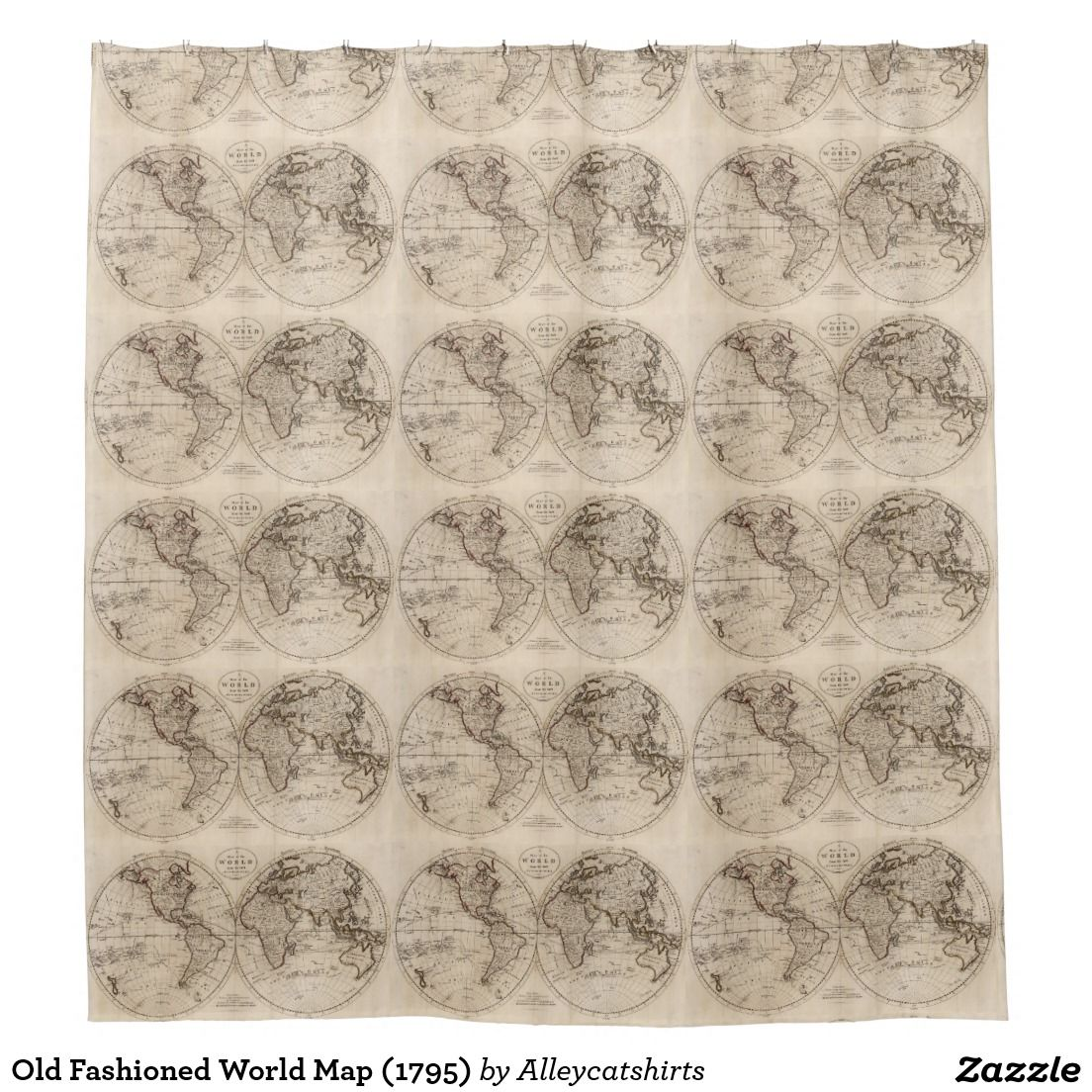 Old Fashioned World Map Shower Curtain World Shower - Old time world map
