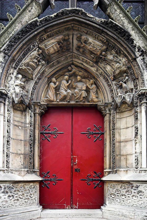 Notre Dame Cathedral side door, Paris, France.