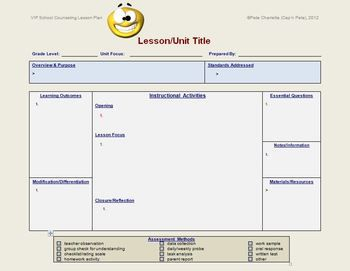 Lesson Plan Template School Counseling Editable Lesson Plan - Health lesson plan template