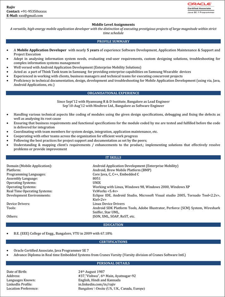 Resume Format For 6 Months Experienced Software Engineer Resume