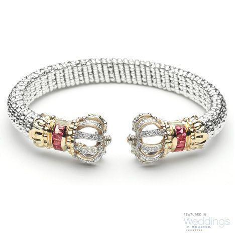 Gold, Silver, Diamond, & Pink Tourmaline Bangle from Vahan Jewelery