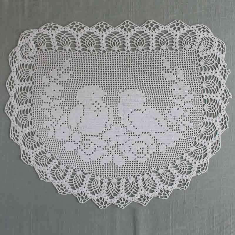 Vintage Filet Crochet Pattern Chair Back&Oval Doily Birds&Roses   Häkeln