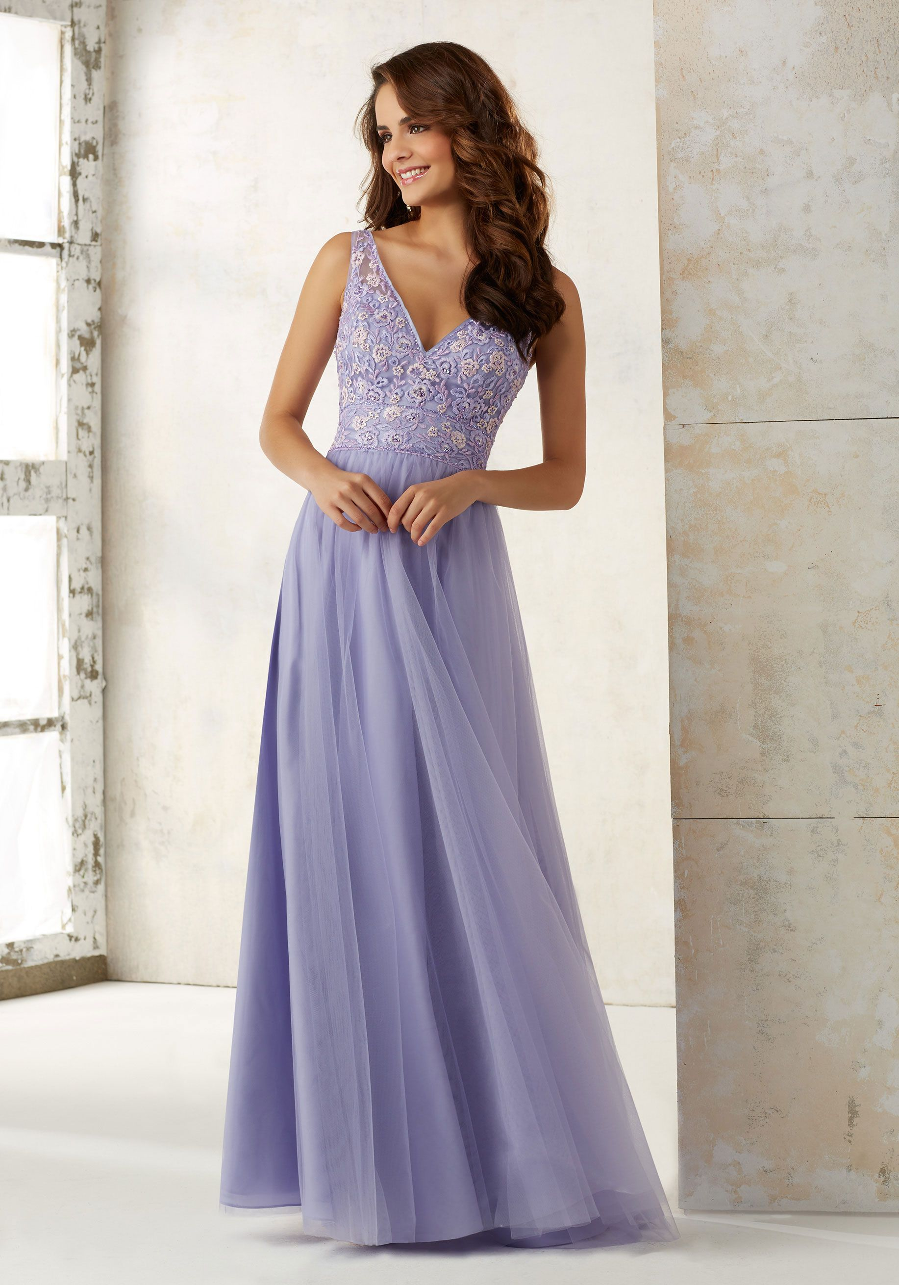 6cde94581ea Tulle Bridesmaids Dress with Embroidery and Beading on Bodice Style  21521
