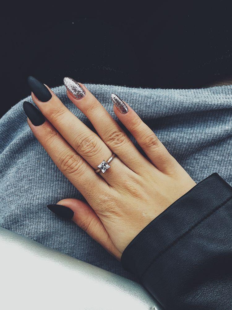 matte black and silver glitter