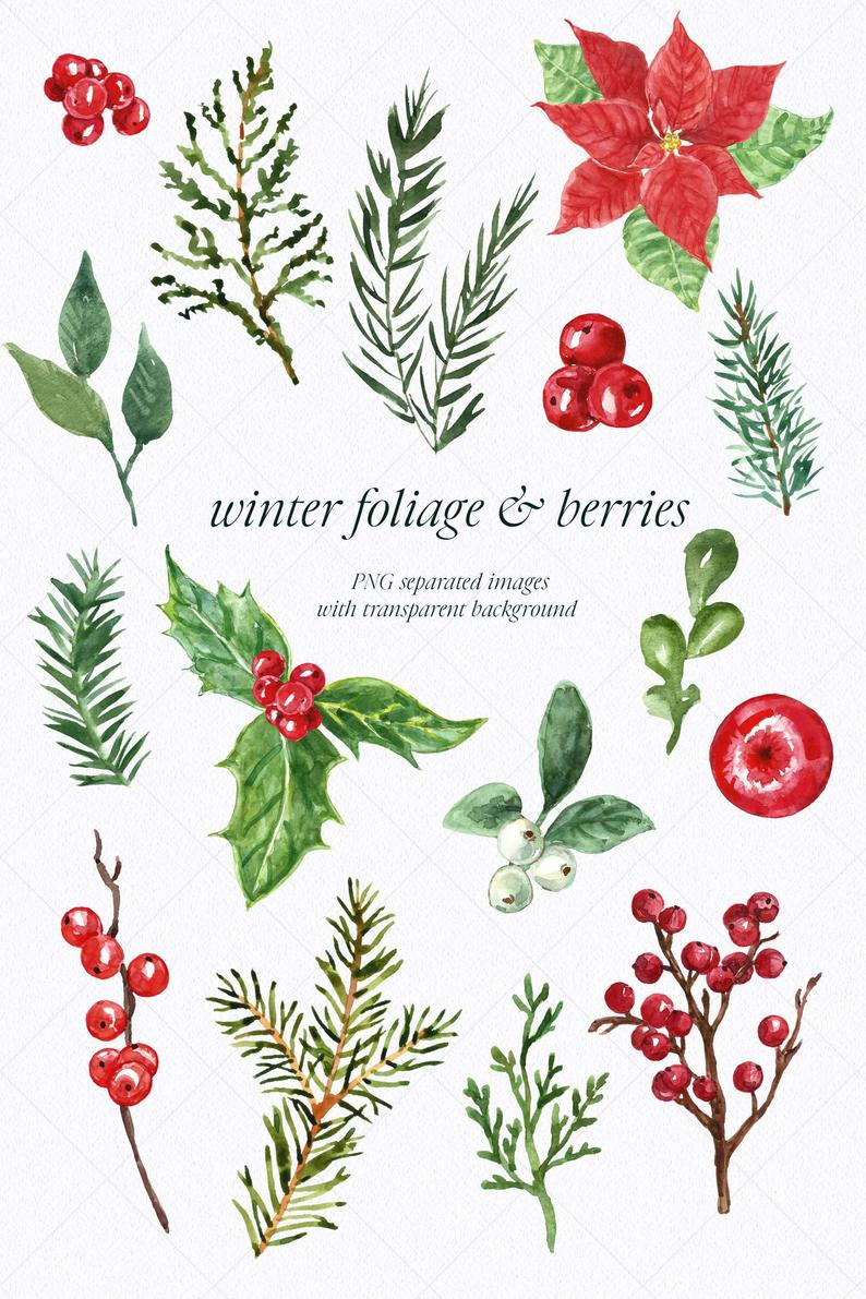 Christmas Wreath Clip Art Watercolor Holiday Winter Clipart Etsy In 2021 Wreath Clip Art Christmas Card Crafts Christmas Drawing