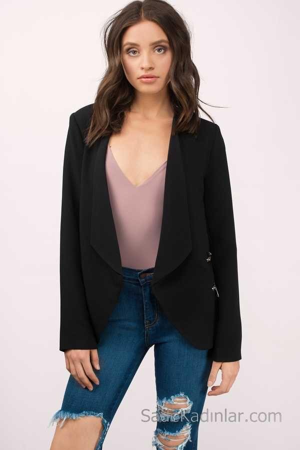 Blazer Ceket Siyah Fermuar Cepli Yırtık Kot Pantolon Kombin