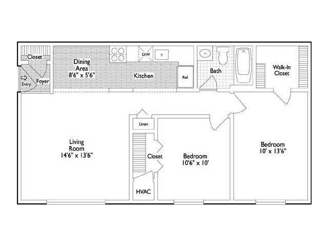 2 Bedroom 1 Bath Apartment Floor Plan Of Property
