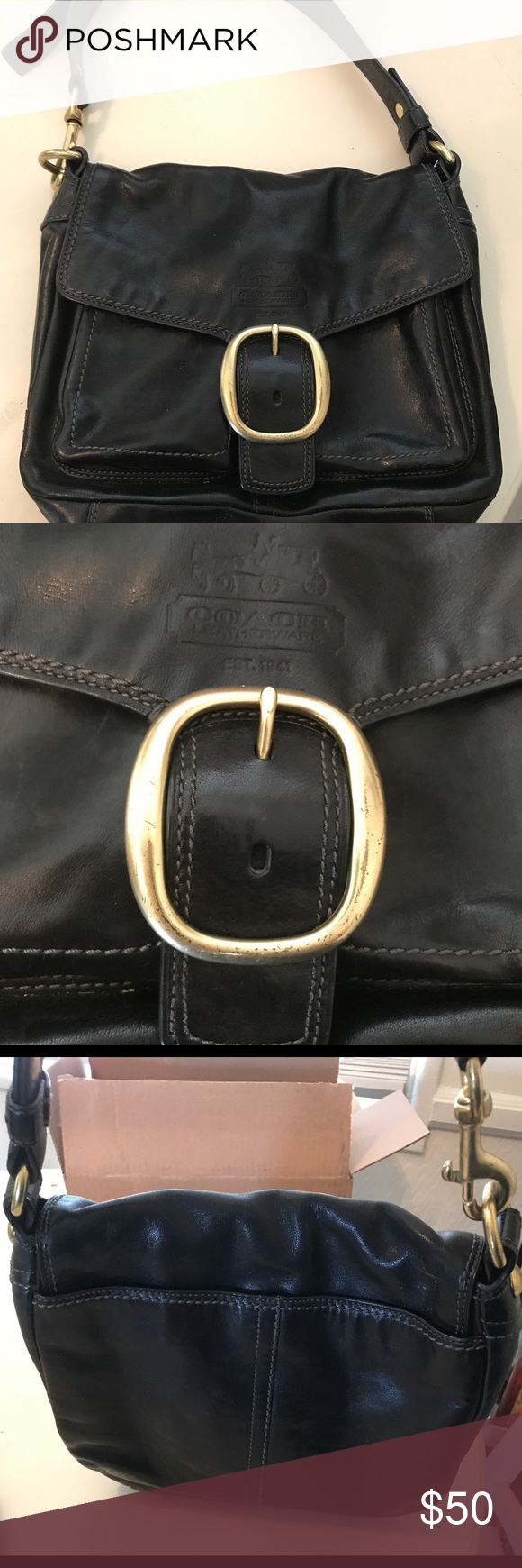 Leather Coach Purse Black leather coach purse Coach Bags Shoulder Bags