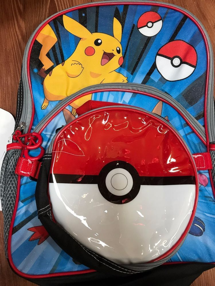 Nintendo Pokemon Backpack with Lunch Kit 16 inch Pokeball Bag Pikachu   Nintendo  BackpackWithLunchbag f21e67c679336