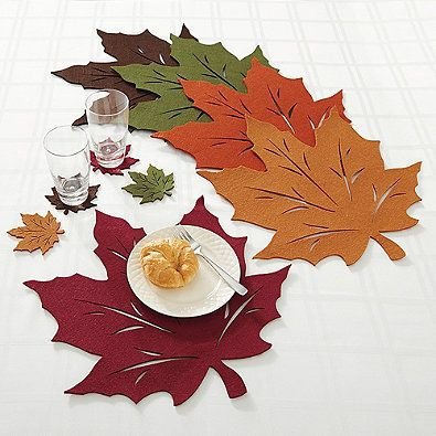 Felt Leaf Placemat Collection Felt Leaves Thanksgiving Party Decor Fall Decor
