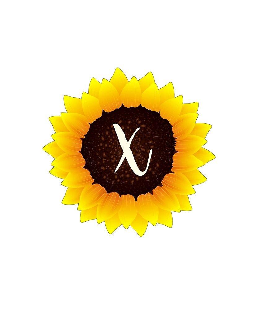 Monogram X Bright Yellow Sunflower by floralmonogram (With ...