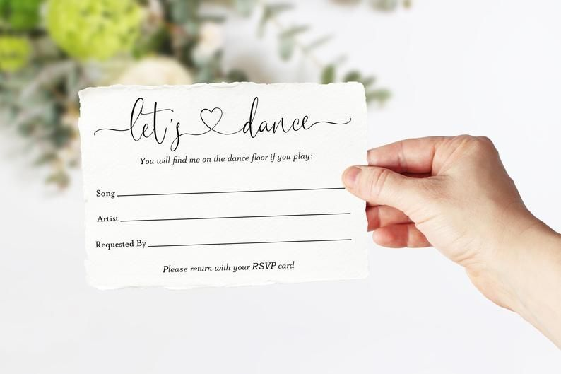 Let S Dance Card Song Request Insert Card Template Dancing Card Dan Wedding Song Request Rsvp Wedding Cards Song Request