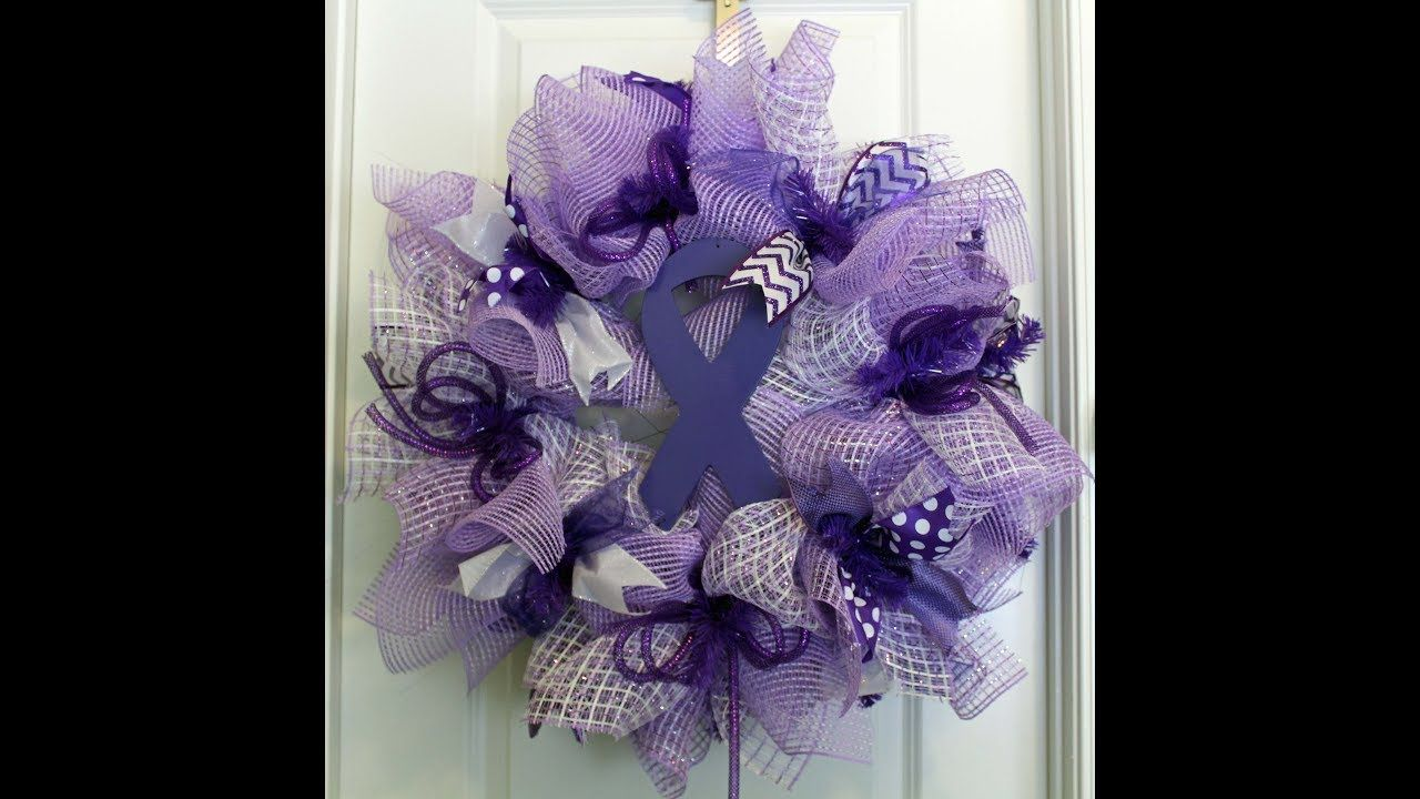 Crafts with deco mesh - How To Make A Deco Mesh Wreath With The Poof Petal Method For Cancer Awa