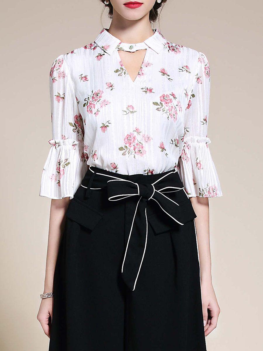 #AdoreWe #StyleWe Blouses❤️Designer Riwins Bell Sleeve H-line Floral-print Keyhole Blouse - AdoreWe.com