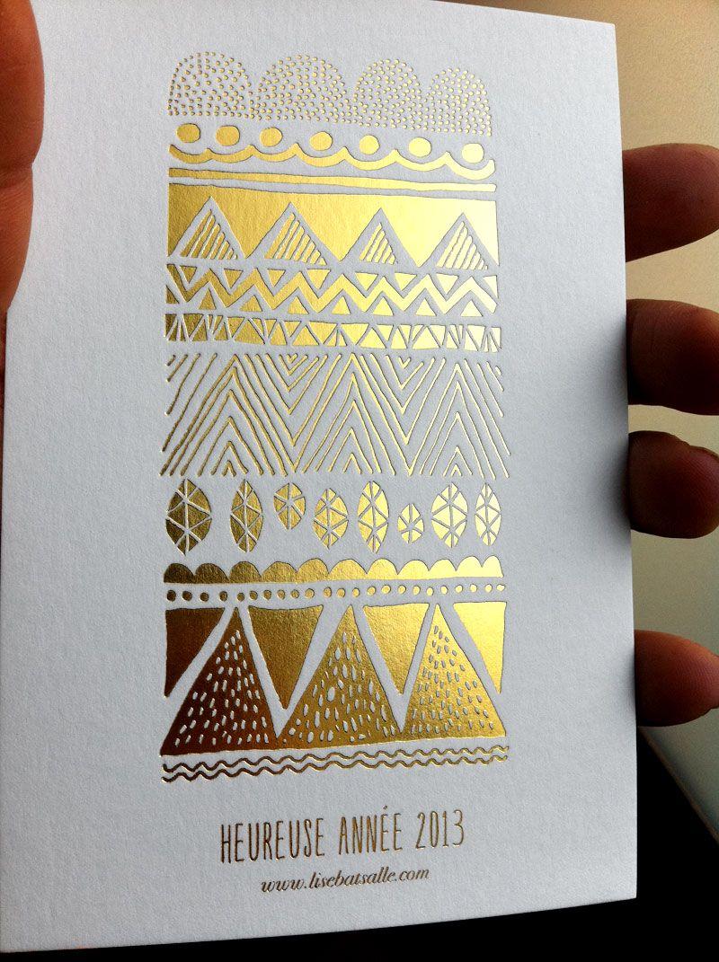 Super Marquage à chaud or - Carte de voeux #Dorure #wishCard | * Edition  NK22