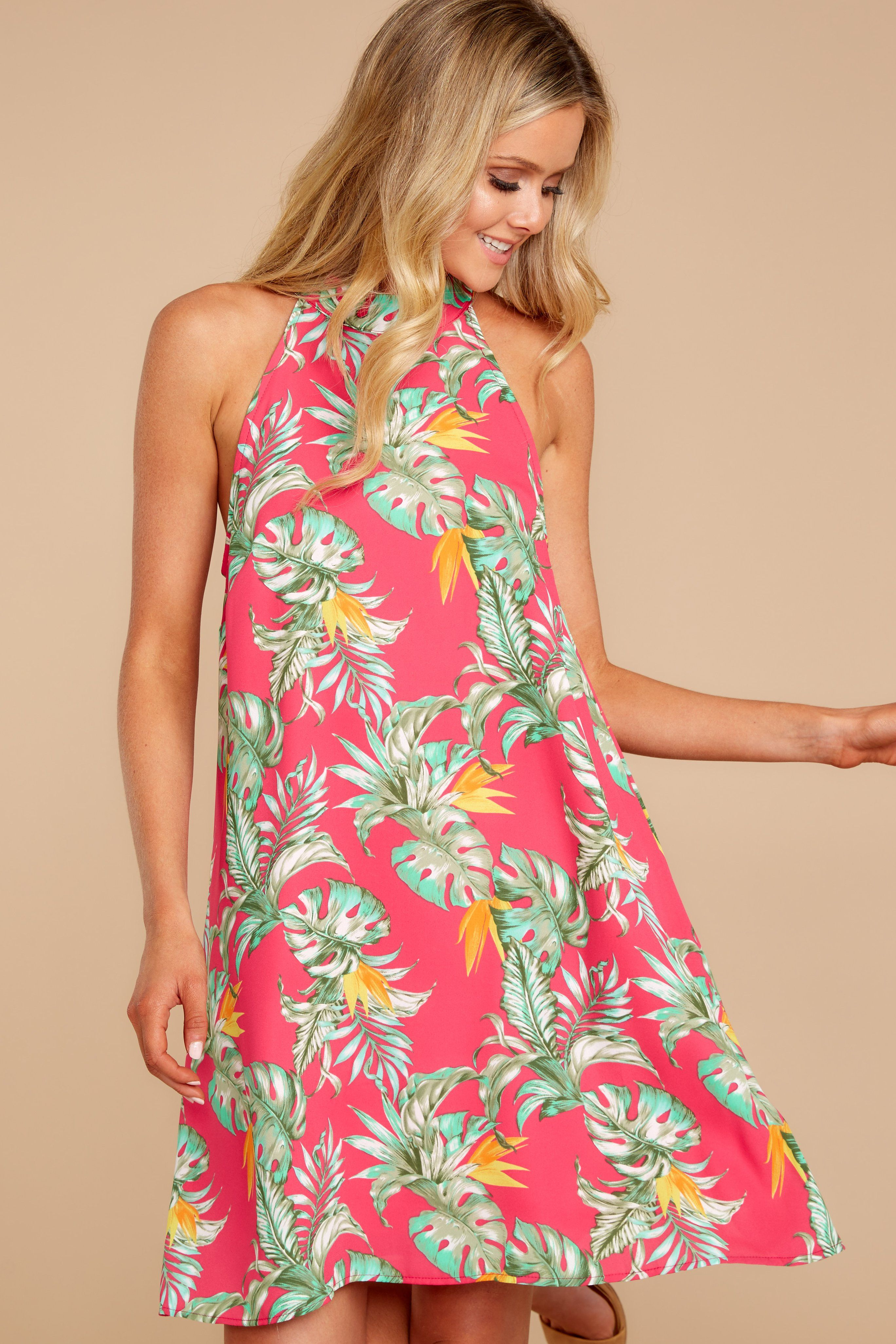 7bf26bbb1bb Searching For Love Fuchsia Tropical Print Dress – Red Dress Boutique