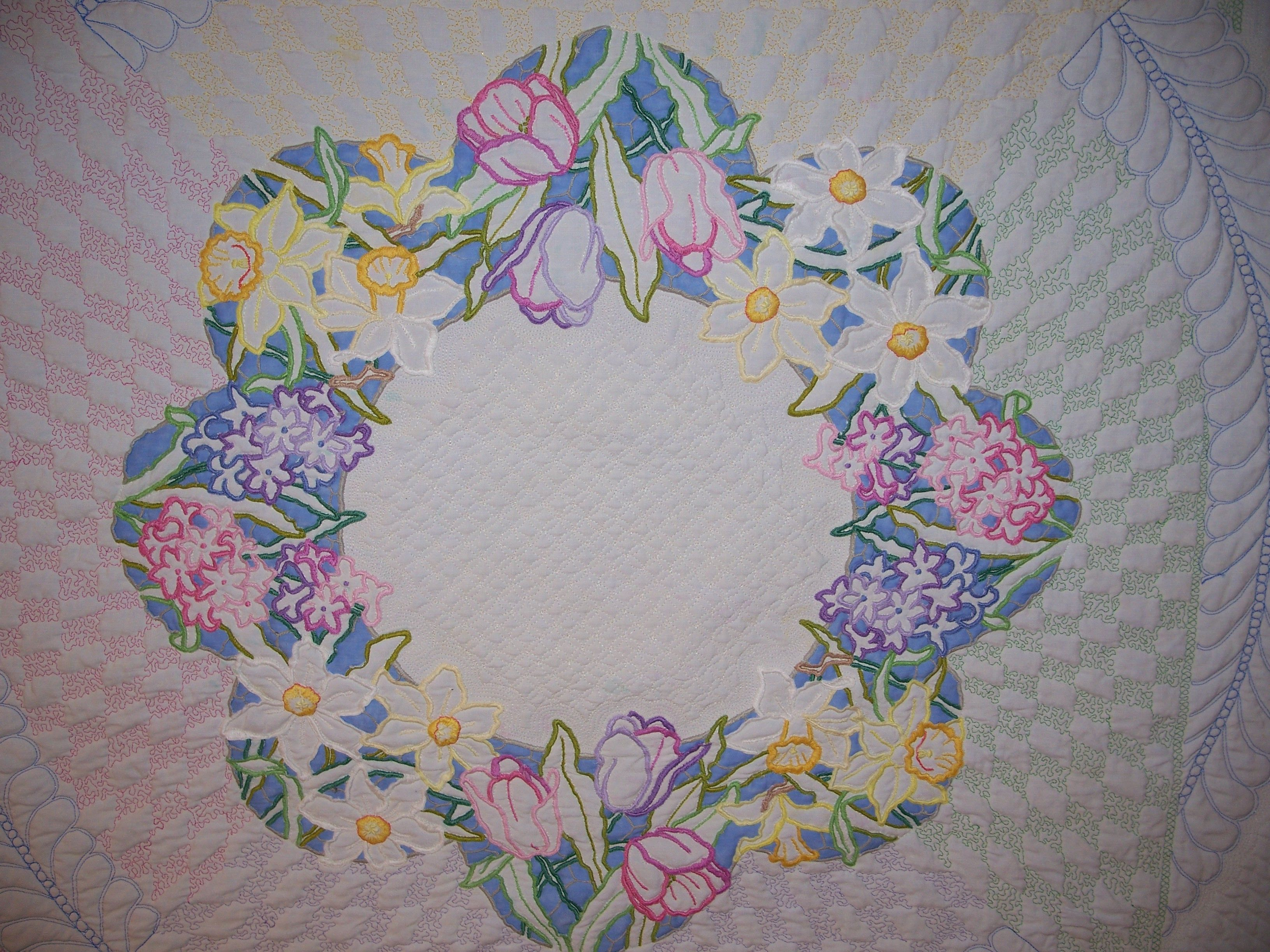 Vintage Tablecloth quilted by Marilyn Farquhar