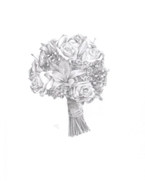 Items Similar To Custom Wedding Bouquet Drawing Sketch Memory Art On Etsy