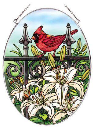Amia Oval Suncatcher w/ Cardinal Bird Design, Hand Painted Glass, 6-1/2
