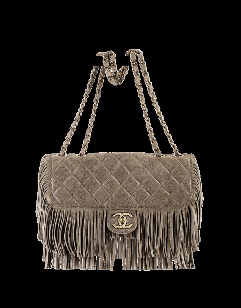Chanel Beige Suede Fringe Flap Bag - Prefall 2014  Chanelhandbags ... 341af7a300deb
