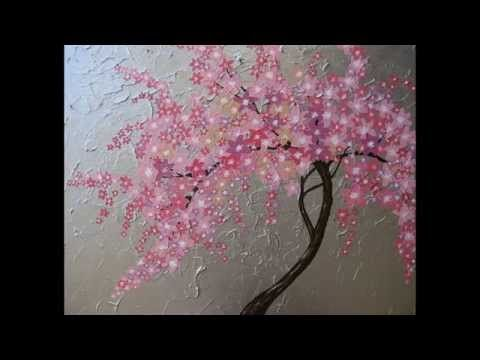 Cherry Blossom Painting By Painted Fingers How To Paint A Cherry Bloss Cherry Blossom Painting Acrylic Cherry Blossom Painting Tree Watercolor Painting