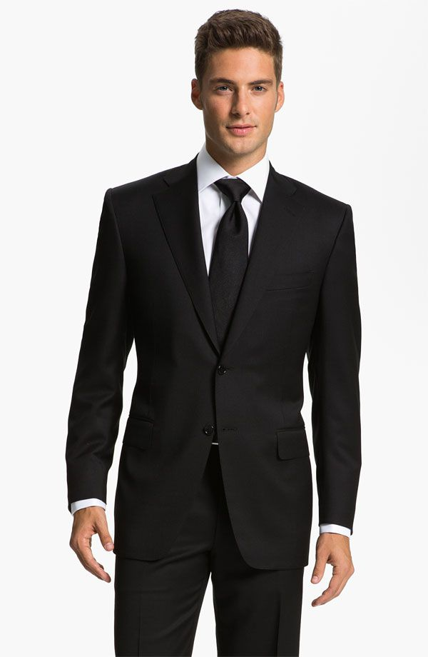 Classic Fit Solid Wool Suit | Groom tuxedo, Slim fit suits and ...