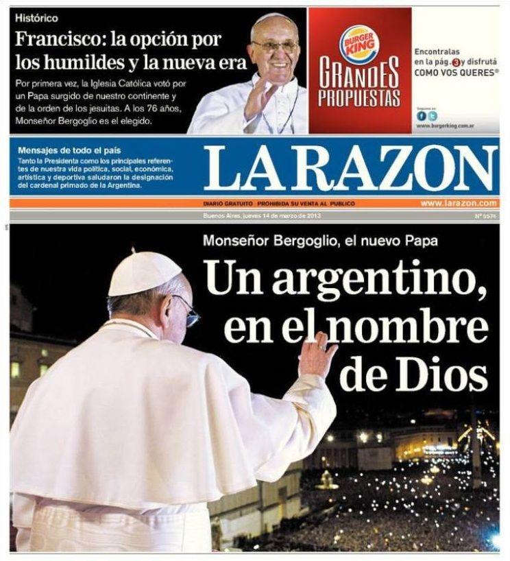Elección del papa Francisco I - 13.03.13 (La Razón - Argentina - 14.03.13).