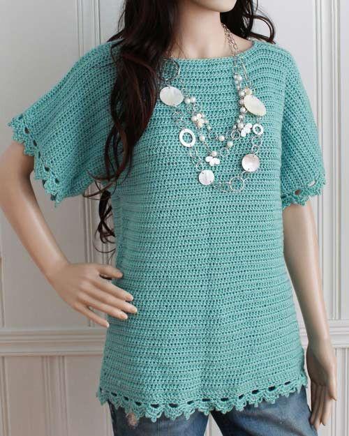 Easy Boat Neck Tunic Crochet Pattern | Häkeljacke, Oberteile und ...
