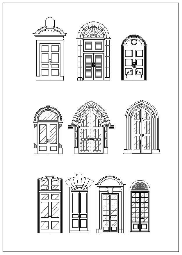 Door and window design architecture ornamental parts for Door design autocad