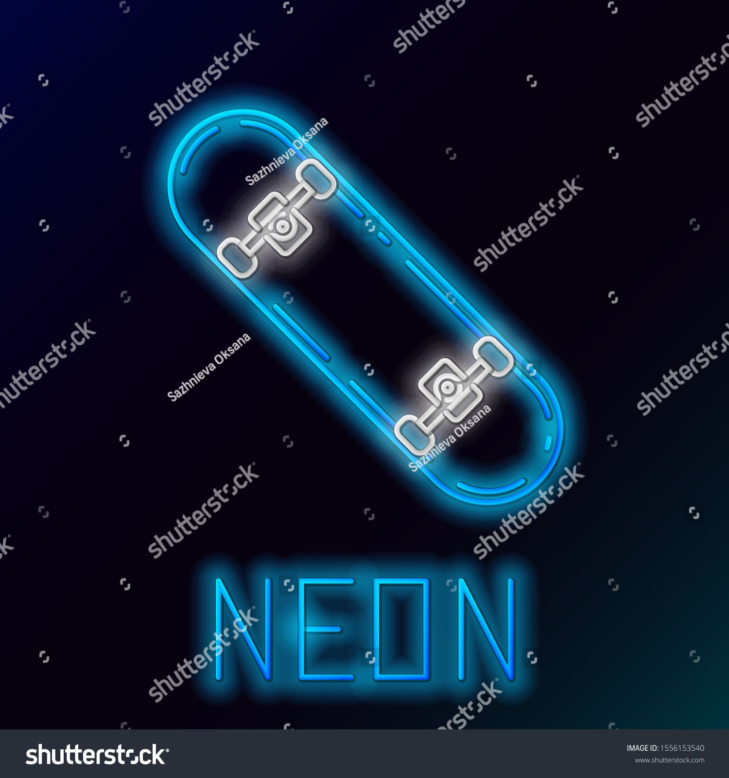 Blue glowing neon line Skateboard icon isolated on black