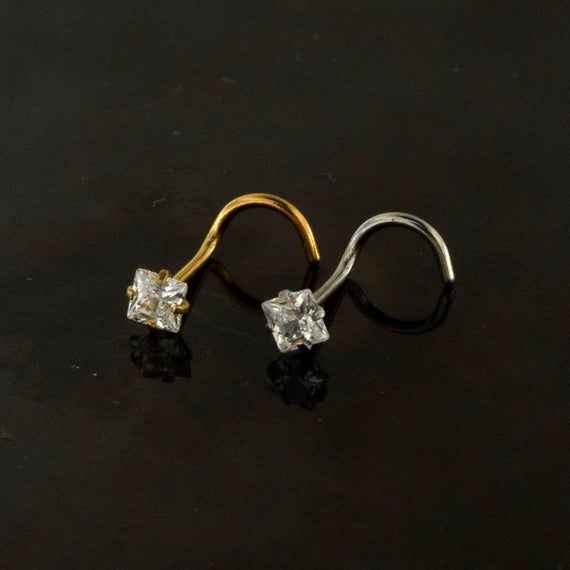 Square Nose Stud with Cubic Zirconia Stone, # #nosepiercingring #nosejewellery #20gaugenosering #nostrilpiercing #nosescrewpiercing #cznosestud #crystalnosestud #20gnosering #anodisedgoldstud #surgicalsteelstud #squarenosestud #squarenosescrew #squarenosering