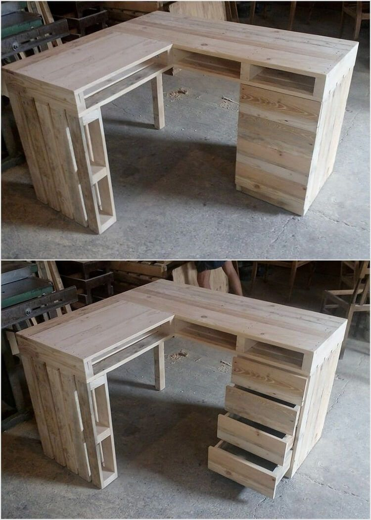 Attractive wood pallet recycling ideas office table - Palette recyclee ...