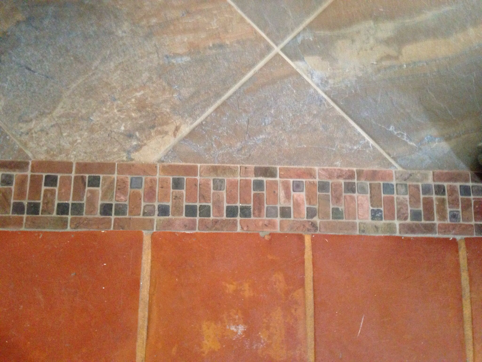 Floor tile transition idea to go from one tile to another using a ...