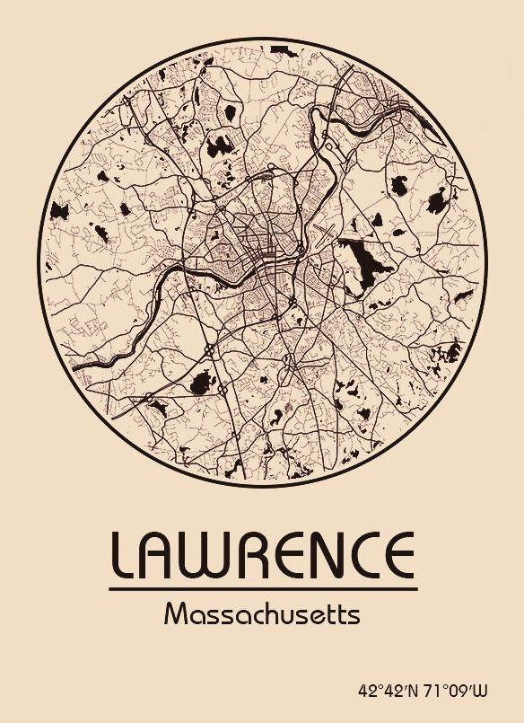 Karte Map Lawrence Massachusetts Vereinigte Staaten Von
