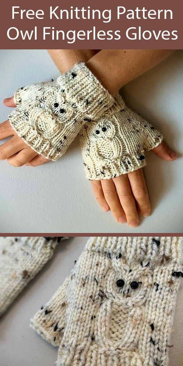 Photo of Free Knitting Pattern for Owl Fingerless Gloves