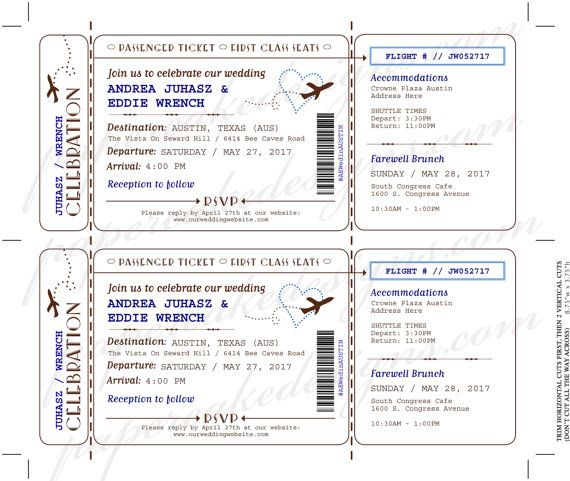 Boarding Pass Wedding Invitation Airline Ticket \/ DIY Printable - plane ticket template