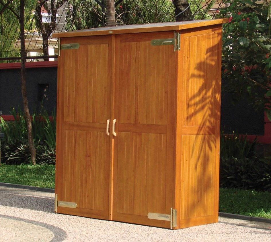 Glittering Large Outdoor Storage Cabinet With Polyurethane Wood Finish  Waterproof Also Stainless Steel Spring Hinge From
