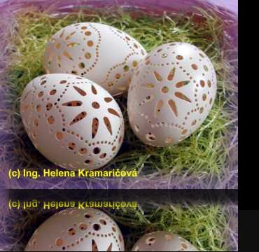 Veľkonočné kraslice - morčacie, richelieu vŕtané