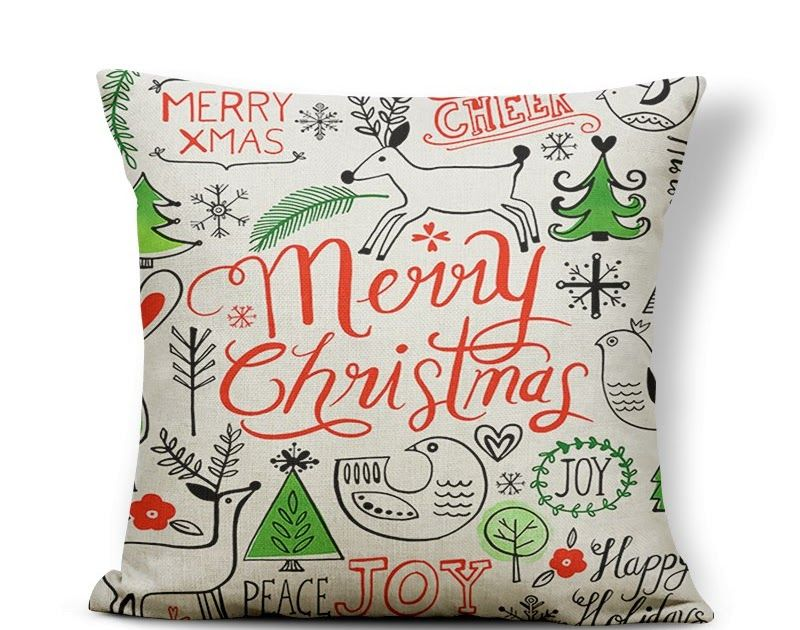 Big Sale Christmas Pillow Cover Santa Claus Happy Holidays Joy Love Cushion Cover Childlike Floor Gift Throw Case 17 7 Polyester Kids Christmas Pillow Covers Christmas Cushion Covers Christmas Cushions