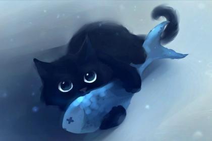 Cute Baby Black Kitten Hd Wallpaper Cute Cat Illustration Black Cat Painting Cats Illustration