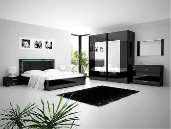 Chambre adulte compl te design luneville coloris noir laqu chambre adulte design ou - Mobilier chambre adulte complete design ...