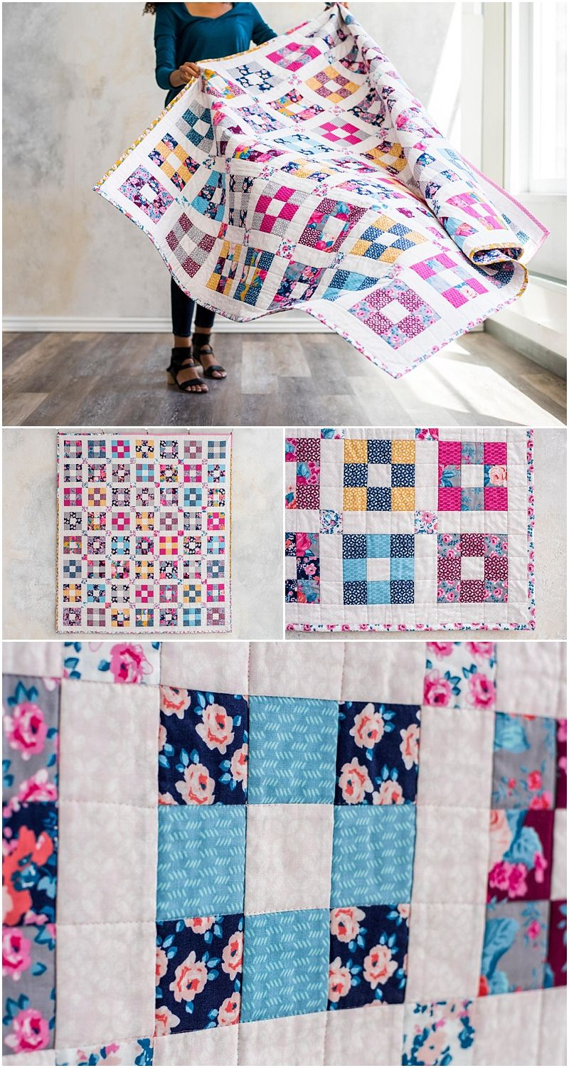 Hopscotch Chelsea Rose Quilt Kit by Craftsy.com. Modern 9 patch ... : how to make your own quilt - Adamdwight.com