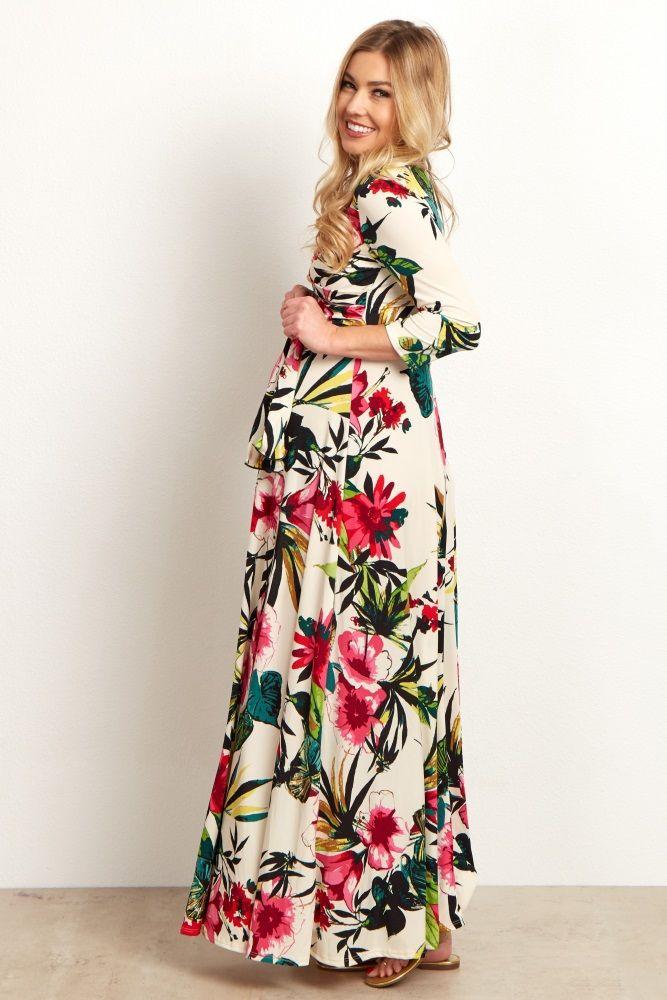 0a7e6cf5aa392 Ivory Multi-Color Tropical Maternity Wrap Maternity Maxi Dress   Hot ...