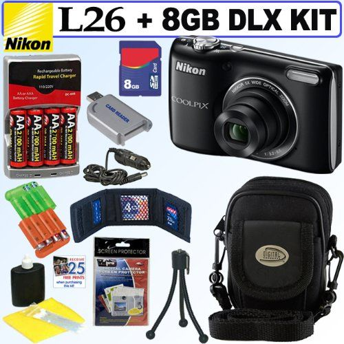 Nikon COOLPIX L26 16.1 MP Digital Camera (Black) + 4 AA Batteries with AC/DC Rapid Charger + 8GB Deluxe Accessory Kit - Listing price: $164.99 Now: $112.95 + Free Shipping