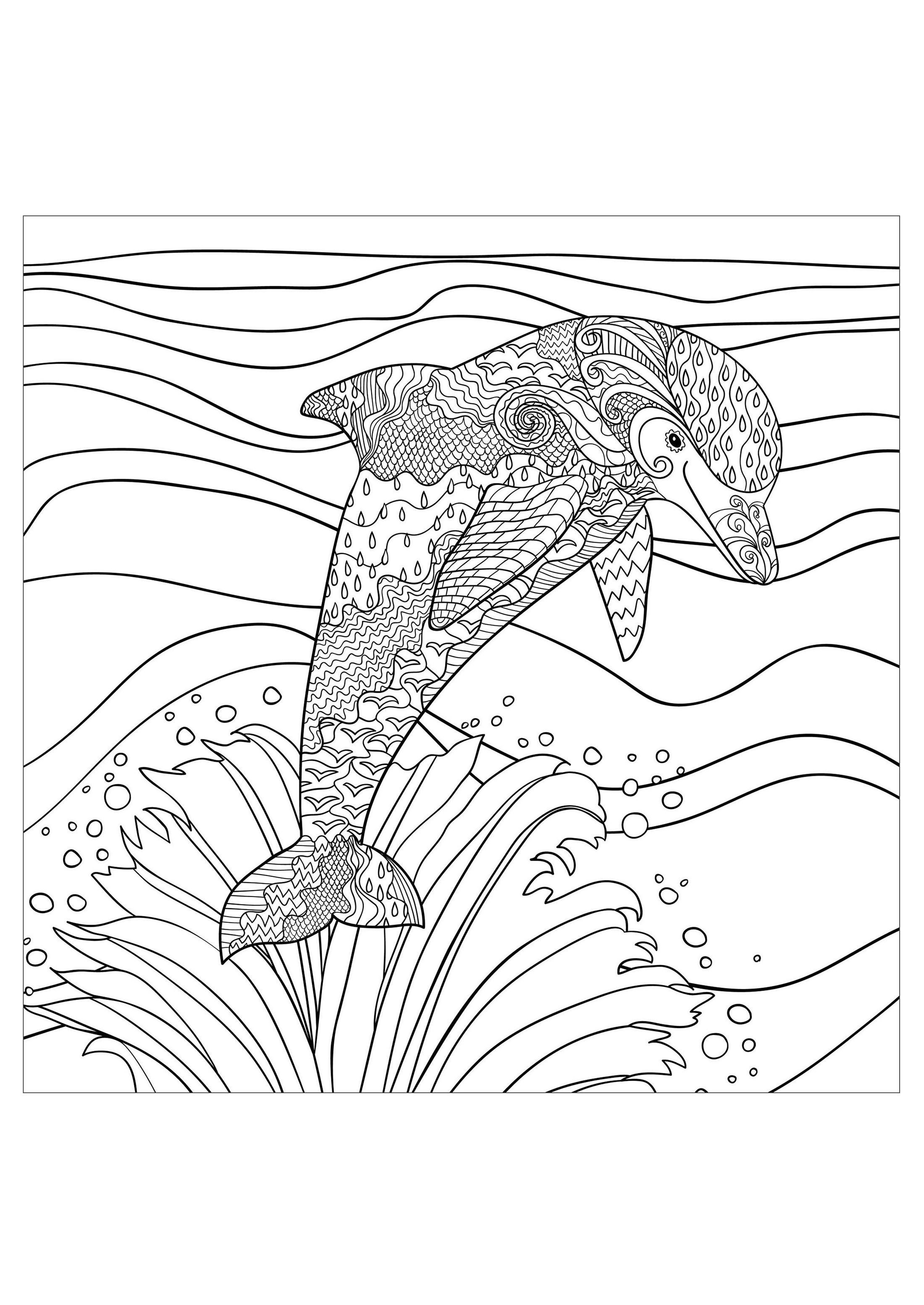 Dolphin waves sea - Dolphins Adult Coloring Pages ...