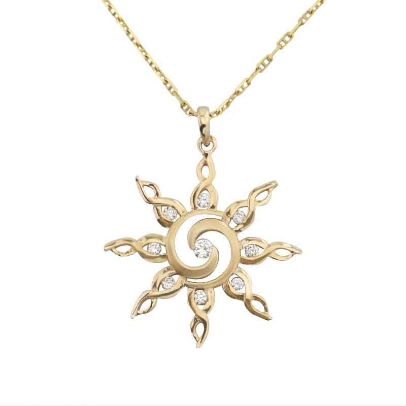 Sun Pendant - Spiral Diamond Sun - Sun Jewelry by Baytowne Jewelers, Destin FL