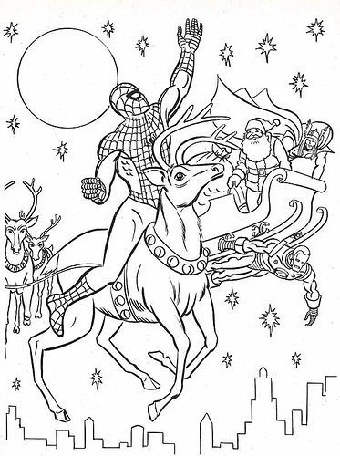 Spiderman Christmas Coloring Pages : spiderman, christmas, coloring, pages, Flickriver:, Neato, Coolville's, Photos, Tagged, Spiderman, Avengers, Coloring, Pages,, Coloring,, Christmas