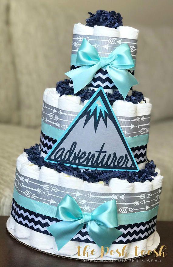 Adventure Awaits Arrow Diaper Cake Gray Navy Teal